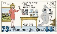 Runnin Bare #1120: Phamton & Gray Ghost - Wellston, Michigan (73sand88s by Cardboard America) Tags: vintage runninbare qsl cbradio cb qslcard michigan ghost women