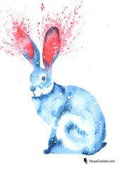 rabbit spirit animal galaxy watercolor painting (cosmicravencat) Tags: rabbit bunny easter watercolor painting art totem spiritanimal galaxy symbolism meaning dream tanyacasteel animal magic space shaman shamanism spirituality nature wildlife