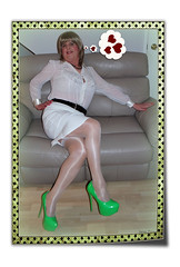 Dreaming of love (janegeetgirl2) Tags: transvestite crossdresser crossdressing tgirl tv ts stockings heels nylons glamour white chiffon stilettos fully fashioned high vintage seams garters suspenders jane gee green pencil skirt legs crossed