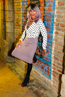 Cortney - High Class Hooker look - Purple Hair Polkadot top with Lavender Theme - Leaning on the wall