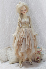 Melon Cream (AyuAna) Tags: bjd ball jointed doll dollfie ayuana design handmade ooak clothing clothes dress set outfit slim msd mnf minifee fashion couture fantasy romantic style dim dollinmind benetia hybrid dolllegend body