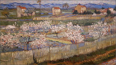 Van Gogh landscape detail from Peach Trees in Blossom, Courtauld's Gallery, London (alanhitchcock49) Tags: courtaulds gallery somerset house november paintings 2017 vincent van gogh peach blossom mountains trees in