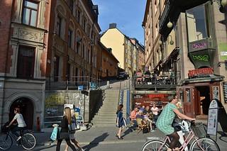Stoccolma, l'angolo Götgatan-Urvädersgränd, nel centro storico di Södermalm