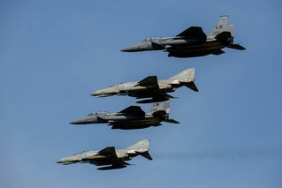 Mixed formation of greek F-4E and USAF F-15E over Andravida