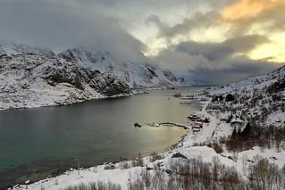 SW.-wards view over Maervollspollen of Steinsfjorden to Himmeltindan-Nordtinden-Nonshammaren mounts. Vestvagoya-Lofoten-Norway.0574