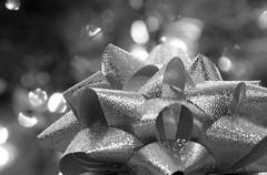 Buttons and Bows (amarilloladi) Tags: 7dwf monochrome blackandwhite bw christmaslights bokeh present macromondays buttonsandbows christmas macro bows