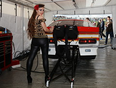 Holly_7745 (Fast an' Bulbous) Tags: drag race car vehicle automobile fast chevy camaro promod doorslammer girl woman hot sexy pinup model people leopard print leggings pvc leather jeans high heels shoes stiletto long brunette hair pose chick babe