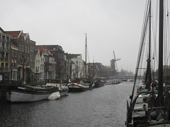 Boats in old harbor, view to windmill, Delfshaven, Rotterdam, Netherlands (Paul McClure DC) Tags: delfshaven rotterdam netherlands thenetherlands southholland zuidholland nov2017 architecture historic scenery