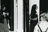 3 women on Poland street 35mm (Joel_Goldstein) Tags: london street life urban attractive outside retrato soho city grey tonal lady headphones candid people canon t90 poland st natural bnw noiretblanc blackandwhite 35mm film lines pattern stylish vintage retro dof grain