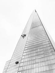 Cleaning windows (marktmcn) Tags: the shard tower skyscraper glass pyramid spire london bridge architect renzo piano cleaning windows window cleaners cradle crane blackandwhite monchrome