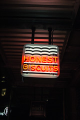 honest biscuits (Michael Dees) Tags: long exposure seattle pike place landscape cityscape night life neon
