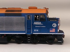 METRA 614 ENGR SIDE (Set and Centered) Tags: metra railroad model railroading ho scale 187 train passenger commuter emd f40c shapeways 3d printing circus city decals and graphics esu loksound electro motive divison 614 edward f brabec