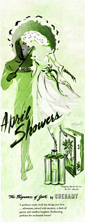 Ad, Personal Product - Cheramy, April Showers Perfume, The Fragrance of Youth - Lady's Home Journal, 1945-11 - Artist- McCullough