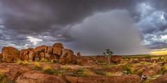 Devils Marbles Storm (R. Francis) Tags: tennantcreek nt northernterritory ryanfrancis ryanfrancisphotography devilsmarbles devilsmarblesconservationreserve storm sunset granite rain supercell