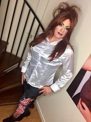 Maiden heaven (Sissy kaylah) Tags: bighair transvestite tranny trans crossdresser crossdressing satinblouse satin redhead purplenails purplelips ironmaiden leggings shinyleggings
