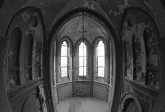 empty chapel (jkatanowski) Tags: forgotten abandoned lost decay urbex urban exploration indoor europe poland bw fisheye window samyang canon 8mm dark
