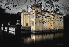 D'Ursel Castle. (rudi.verschoren) Tags: black white selected color mood landscape castle dursel hingene antwerp belgium outdoor old eos europe europa exposure effect tree yellow artistic reflection infrastructure pittoresque flanders water bridge nature