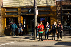 Waiting and Watching (ramseybuckeye) Tags: high street columbus ohio crosswalk bar
