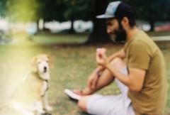 Stupid Ape and brother Majky (Chimpules) Tags: beagle analogue film kodak colorplus praktica tl1000 m42 1850 pentacon