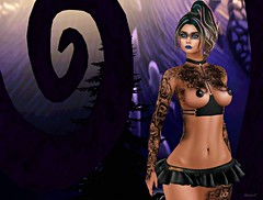 Dark Winter (kare Karas) Tags: woman lady femme girl dark darkness winter fantasy obscure nightmare outfit tattoos makeup hair backdrop poses mesh bento event secondlife virtual avatar photo essence nyne kposes mrm widlroots thedarknessmonthlyevent