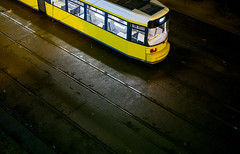 Urban loneliness (mripp) Tags: art vintage retro old yellow mobile mobility urban city stadt strasenbahn öpnv night nacht glow berlin germany deutschland leica m10 summilux 50mm bvg rainy