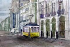 Un tranvia (benilder) Tags: lisboa tranvía tramway acuarela aquarelle watercolor watercolour benilde aa acuarelistasavanzados