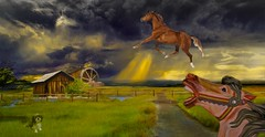 When Horses Fly (Rusty Russ) Tags: horse dog farm house sky cloud sun dark green colorful day digital window flickr country bright happy colour eos scenic america world sunset beach water red nature blue white tree art light park landscape summer city yellow people old new photoshop google bing yahoo stumbleupon getty national geographic creative composite manipulation hue pinterest blog twitter comons wiki pixel artistic topaz filter on1 sunshine image