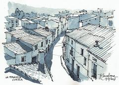 Tejados de La Peraleja (P.Barahona) Tags: pueblo calle tejados arquitectura rural urbano pluma acuarela tinta