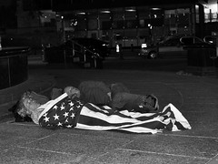 The land of freedom. (fra_m88) Tags: dark noctis flash portrait blackandwhite september friendship urban street artist art homeless freedom passion newyork usa sleeping noght flag america