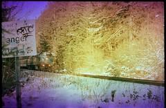 train coming (Beaulawrence) Tags: film grain analog lomo lomography lofi lowfidelity color colour e6 slidefilm xpro crossprocessed fedii rangefinder classiccamera vintagecamera russiancamera sovietcamera leicaknockoff fuji fujichrome sensia100 arista homedeveloped homedarkroom diy developathome colorshift train frasercanyon