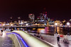 A Night Time View Of London From The Southbank Across The River Thames (Peter Greenway) Tags: architecture neon southbank flickr londonatnight riverthames nightphotography lighttrails london landmark lighttrace city lighttrail urban capitalcity night lifesaverring nightlights shadows iconic walkietalkie nighttime river