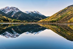 Crystal Lake Reflection (mnryno) Tags: autumn fall aspentrees water lake landscape ouray mountains reflection colorado crystallake