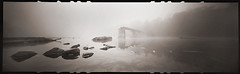 Bridge in Fog (Pinhole) (DRCPhoto) Tags: zeroimage618 pinhole lenslessphotography ilfordxp2super 120film panoramic cheatriver westvirginia