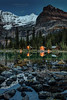 Twilight at Lake O'Hara Lodge (PIERRE LECLERC PHOTO) Tags: lakeohara lakeoharalodge lodge woodcabins yohonationalpark ywilight britishcolumbia canada bc canadianlandscapes canadianrockies rockies rockymountains mountains glaciers nature wilderness landscape outdoors hiking adventure backcountry travel scenic night lights peaks snowcappedmountains pierreleclercphotography canon5dsr reflection lake water calm rocks