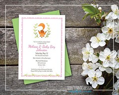 Printable Baby Shower Invitation - Baby Fox Woodland Shower Invitation - Pink Printable Baby Shower Invitation - Baby Girl - 5x7 invitation (Home Decor and Fashion) Tags: 5x7 baby fox girl invitation pink printable shower woodland