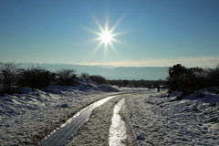 Orduña. Monte Santiago (Txaro Franco) Tags: orduña monte mountain nieve snow bizkaia límite frontera euskadi vizcaya rodada sol soleil contraluz sun tarde meseta winter invernal paisaje neguko paisaia