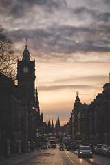 Princes Street (der_peste) Tags: princesstreet edinburgh city cityscape clouds balmoral cars lights bluehour road street mood ambiance atmosphere sky