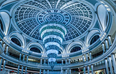 christmas blue chandelier (pbo31) Tags: sanfrancisco california december 2017 color night boury pbo31 city urban unionsquare shopping holidays christmas season westfield shoppingcenter sanfranciscocenter mall marketstreet downtown dome architecture 1908 historic emporium over panoramic large stitched panorama christmastree decorate lights decorations metropolitan blue upsidedown