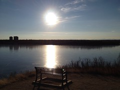 Fire on Ice (Mr. Happy Face - Peace :)) Tags: bench emptyseat happybenchmonday benchmonday art2017 naturelover sun ice lake yyc calgary albertatbound canada
