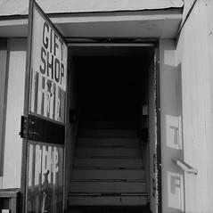 Gift Shop, Portland (austin granger) Tags: portland oregon giftshop stairs entrance gateway darkness shadows geometry portal blackness death film street sidewalk evidence correspondence mind gf670