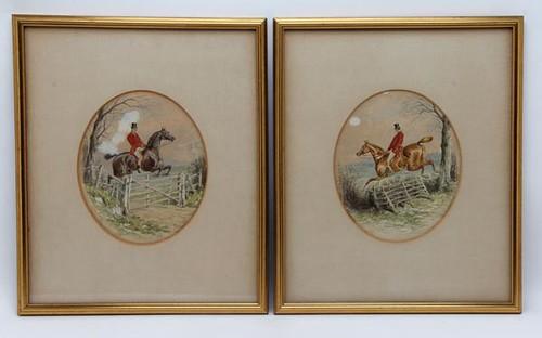 John Sturgess Original English Hunt Scene Egg Tempera Paintings ($156.80)