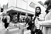 iphone x (streetstory) Tags: manchester england marketstreet girl jessops hijab iphonex apple pedestrianzone streetphotography bw 2017 november europe