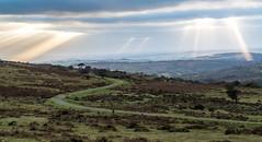 A Dartmoor scene before sundown - NK2_4634 (Jean Fry) Tags: dartmoor dartmoornationalpark devon gwrtrack moorland skies tracks uk walkhamvalley westcountry crepuscularrays disusedrailtrack sunrays