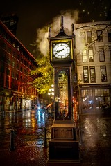 Historic Timepiece (Christie : Colour & Light Collection) Tags: timepiece historic rain rainy thegastownsteamclock vancouver gastown bc canada street waterstreet dark nightphotography downtown nikon gravitydriven steampowered raymondlsaunders horologist cobblestone building turnofthecentury historical landmark westminsterchimes clock canadianhistory history downtowncore western westerncanada evening afterdark cityofvancouver britishcolumbia steam time