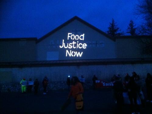 Bellingham Solidarity Brigade Food Justice Now Guerrilla Light Projection #1