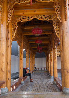 Square with a wooden roof in the renovated old quarter, Gansu province, Linxia, China