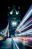 Traffic Light Trails Over Tower Bridge ( Creative ) (Peter Greenway) Tags: architecture neon southbank flickr londonatnight nightphotography lighttrails london landmark lighttrace city nightlights urban capitalcity night iconic nighttime lighttrail