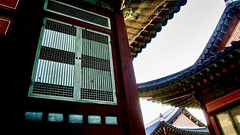 """Human life is but a series of footnotes to a vast obscure unfinished masterpiece."" ―Vladimir Nabokov 🏰 (anokarina) Tags: classic architecture historic design gyeongbokgungpalace 경복궁 sajikro 사직로 jongnogu 종로구 seoul 서울 서울특별시 大韓民國 southkorea sk 대한민국 canonpowershotsd3500is 효자동 gyeongbokpalace castle windows doors entrances perspective colorsplash rainbow colors roof eaves entryways exits"