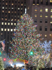 2017 Christmas Tree Rockefeller Center NYC 4479 (Brechtbug) Tags: 2017 christmas tree rockefeller center after lighting 12022017 nyc 30 rock new york city standing up above ice rink with snow shoveling workers skating holiday decoration ornaments night lights lites light oversize load ornament prometheus gold mythological statue sculpture fountain fountains post thanksgiving