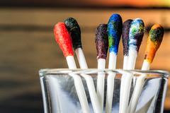Sticky swab sticks / mixing the colors (Özgür Gürgey) Tags: 105mm 2017 d7100 macromondays nikon colors cotton glass ink macro mixture stick swab istanbul
